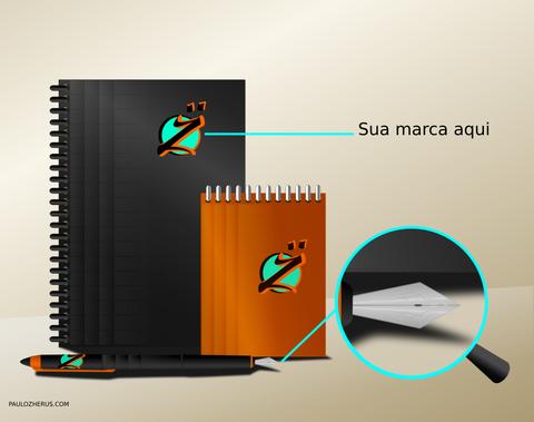 Caderno, caneta e bloco de notas