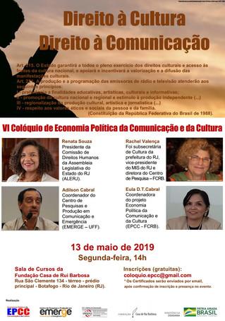 Renata Souza fala sobre Direito à Cultura e à Comunicação no VI Colóquio de EPCC