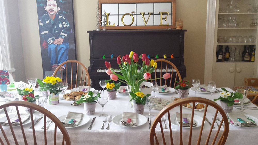 one of the most beautiful Easter feasts ever - Janet's best friend Tracey organized and invited us to