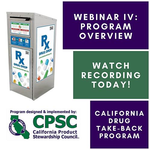 California Drug Take-Back Program Webinar IV - 11/06/19