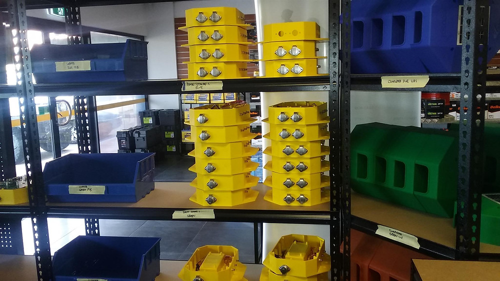 The EcoSAT manufacturing enclosure line up - waiting to be tested and shipped