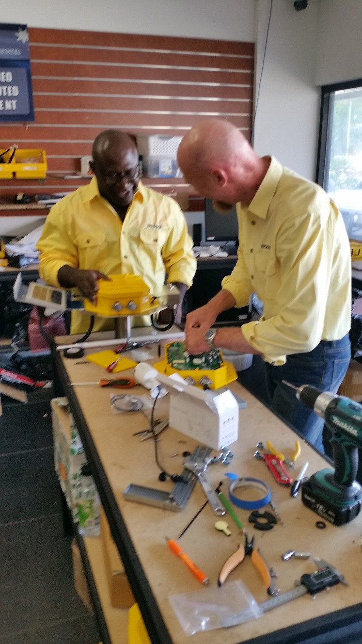 EcoSAT members Sylvester Obed and Christopher Glanville go through the making of an EcoSAT in Yarrawonga, Darwin