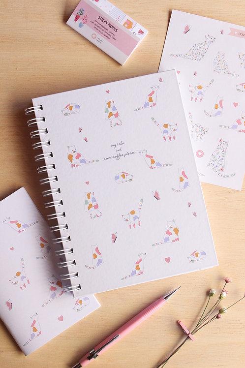"""Caderno """"Meus gatinhos e um café"""""""