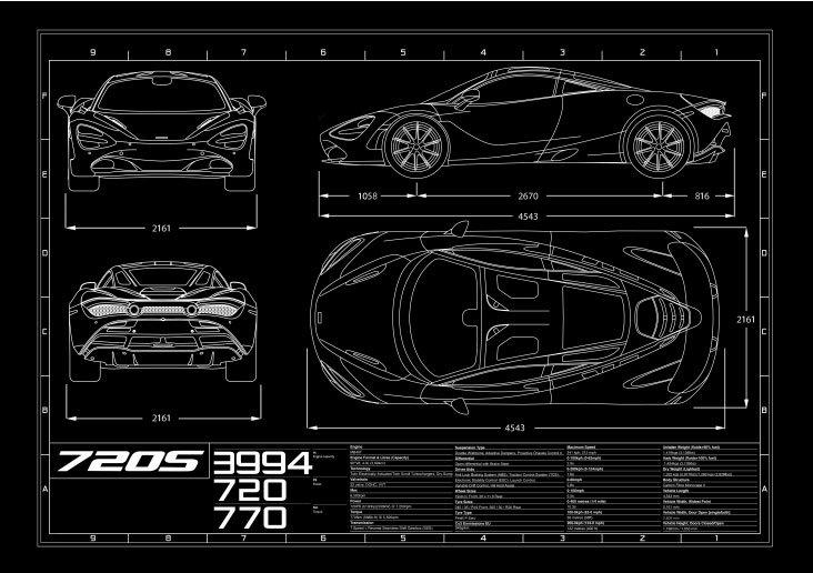 McLaren 720S Coupe Blueprint Poster A1