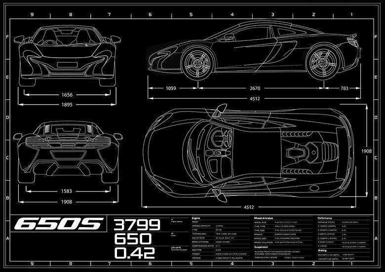 McLaren 650S Coupe Blueprint Poster A1