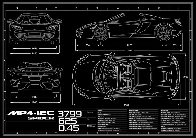 McLaren MP4-12 Spider Blueprint Poster A1