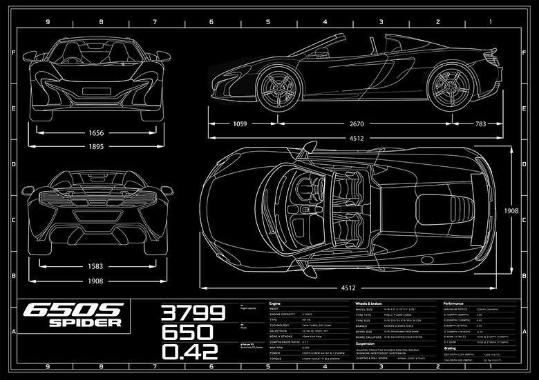 McLaren 650S Spider Blueprint Poster A1