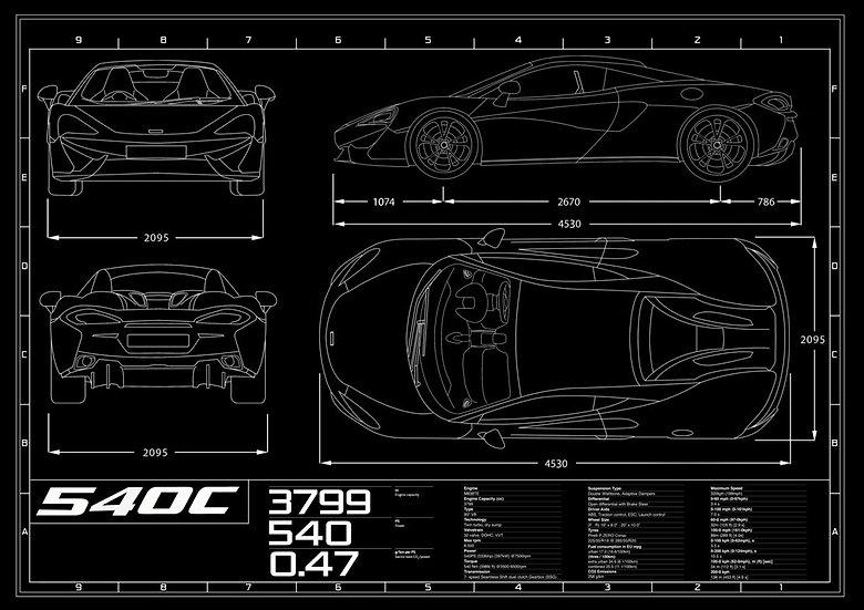 McLaren 540c Blueprint Poster A1