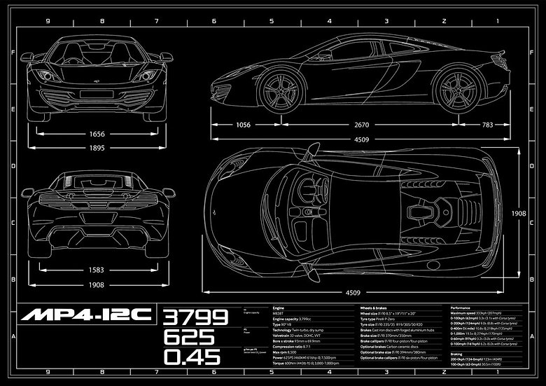 McLaren MP4-12 Coupe Blueprint Poster A1