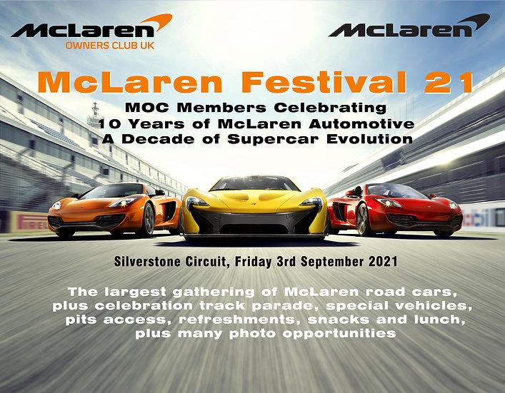 McLaren Festival 21 Car, MOC Member & Passenger Admission