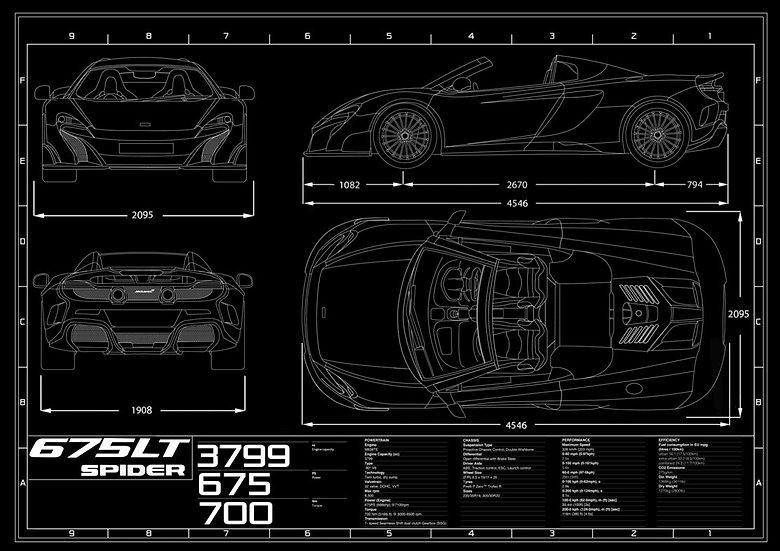 McLaren 675LT Spider Blueprint Poster A1