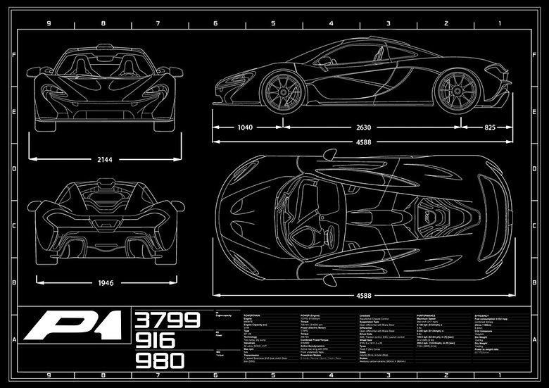 McLaren P1 Blueprint Poster A1