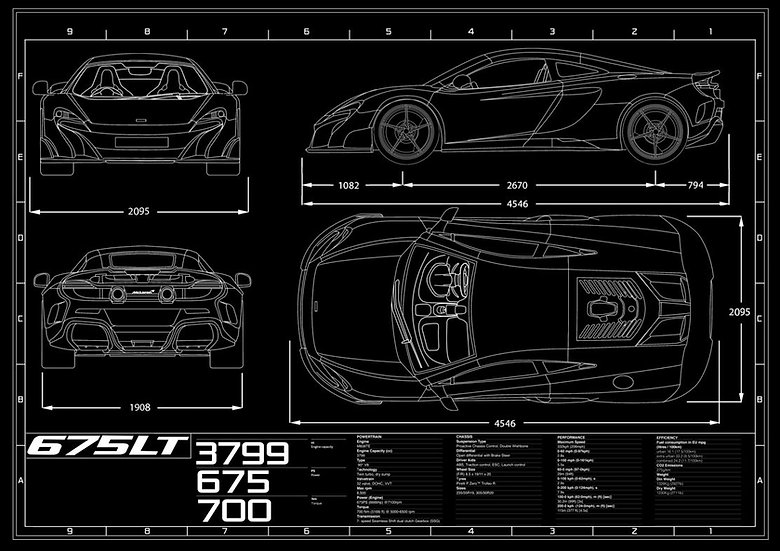 McLaren 675LT Coupe Blueprint Poster A1