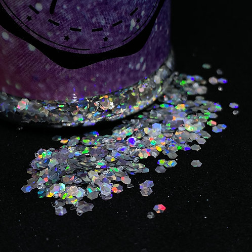 Glitter holo Silber hexagon 80ml