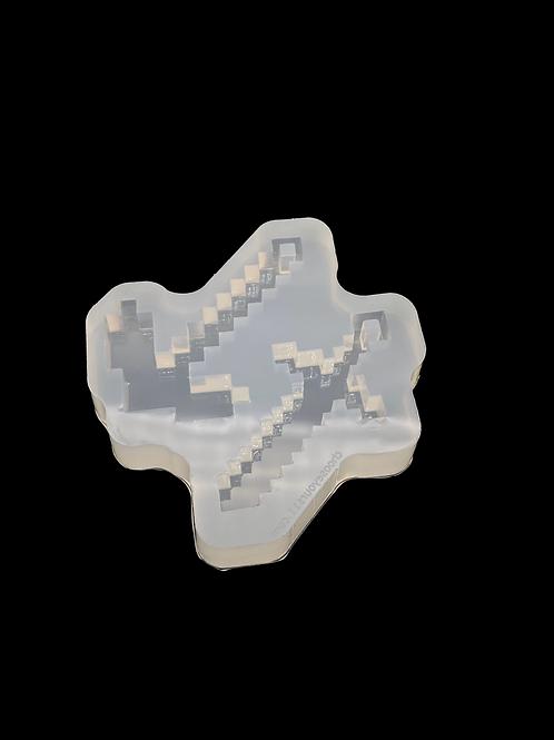Gaming Pixel Schwert und spitzhacke  Silikonform