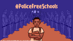 A drawing of a young boy carrying books walking through two rows of police.