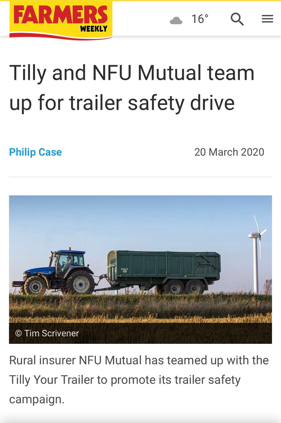 NFU Mutual talk about Agri trailer safety