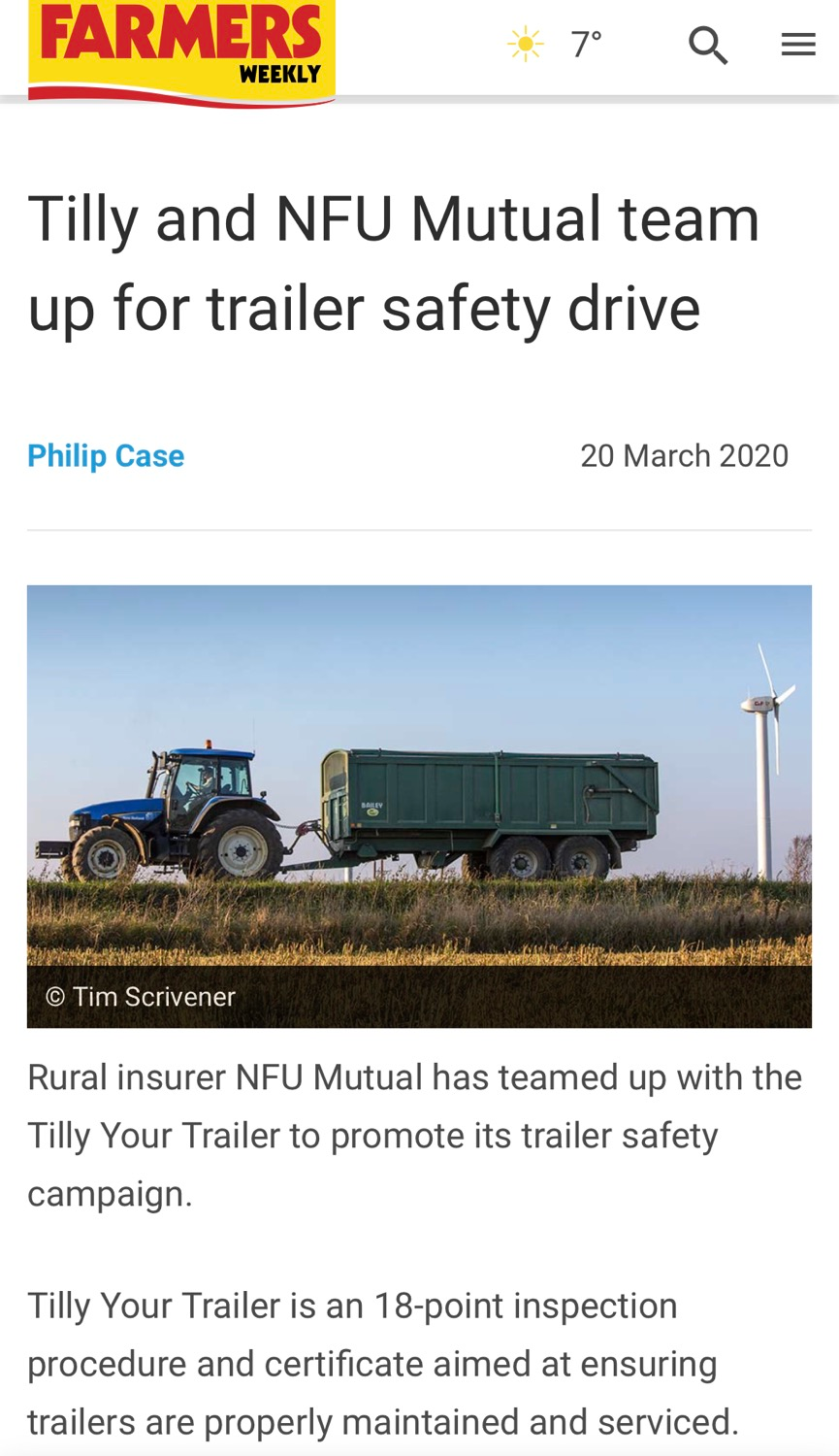 We are proud to be working with Tilly said an NFU Mutual spokesperson.