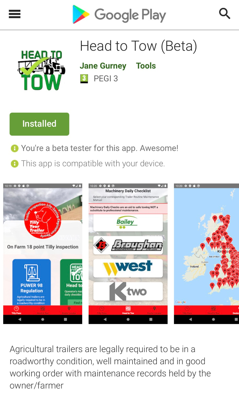 Update #HeadtoTow Android App is ready to load ⬇️