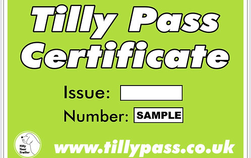 2021  Pack of 5  Tilly Pass Certificates.