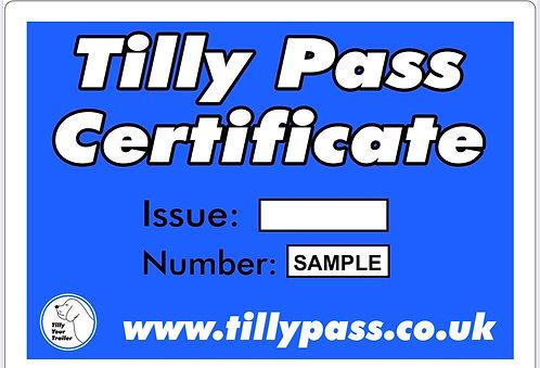 2020 5 Tilly Pass Certificates.