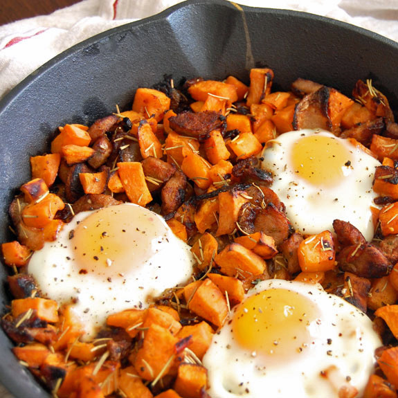 Turkey and sweet potato hash browns with eggs