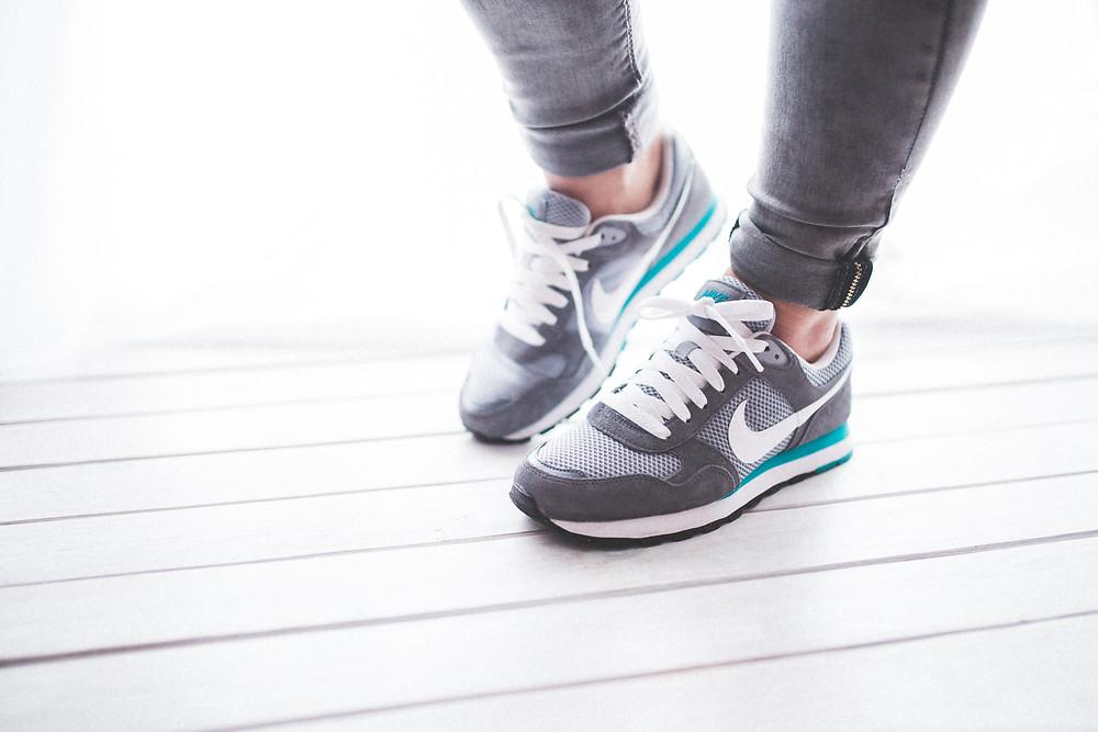Woman's feet ready to go