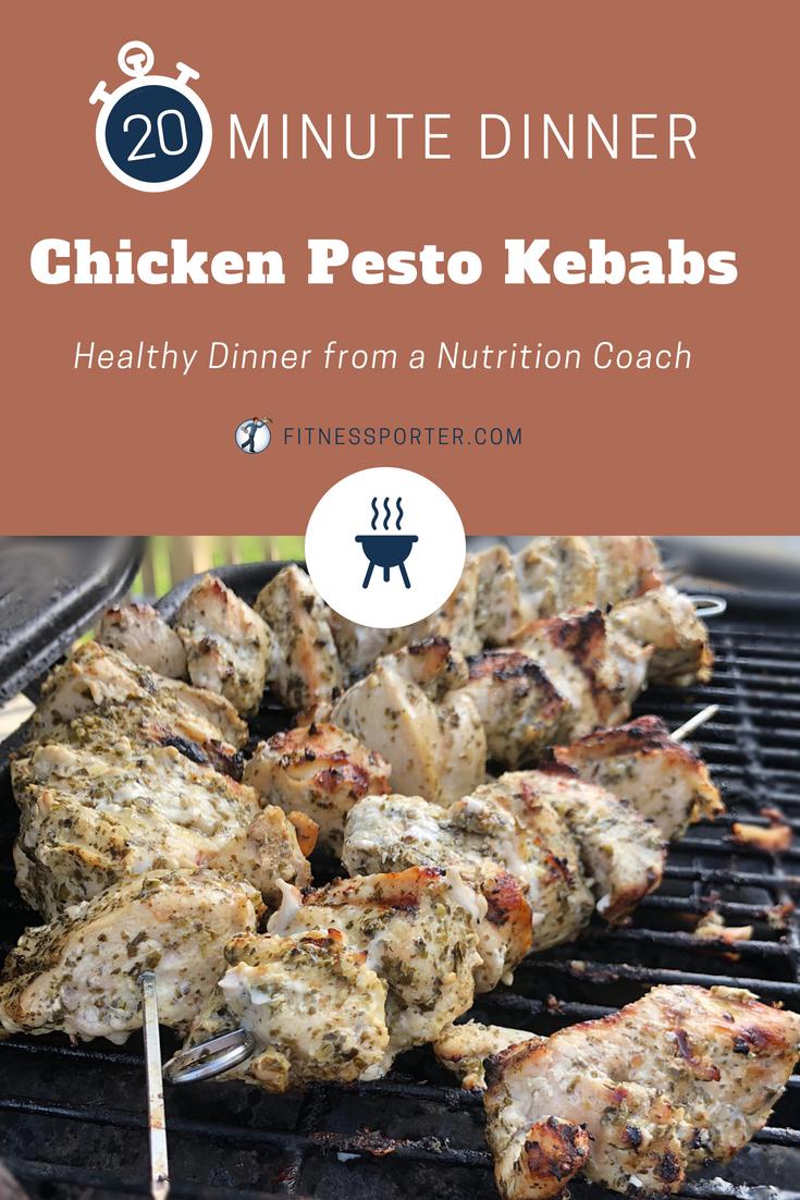 20 Minute Dinner Chicken Pesto Kebabs