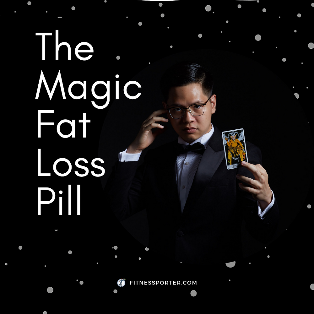 The Magic Fat Loss Pill, magician holding card