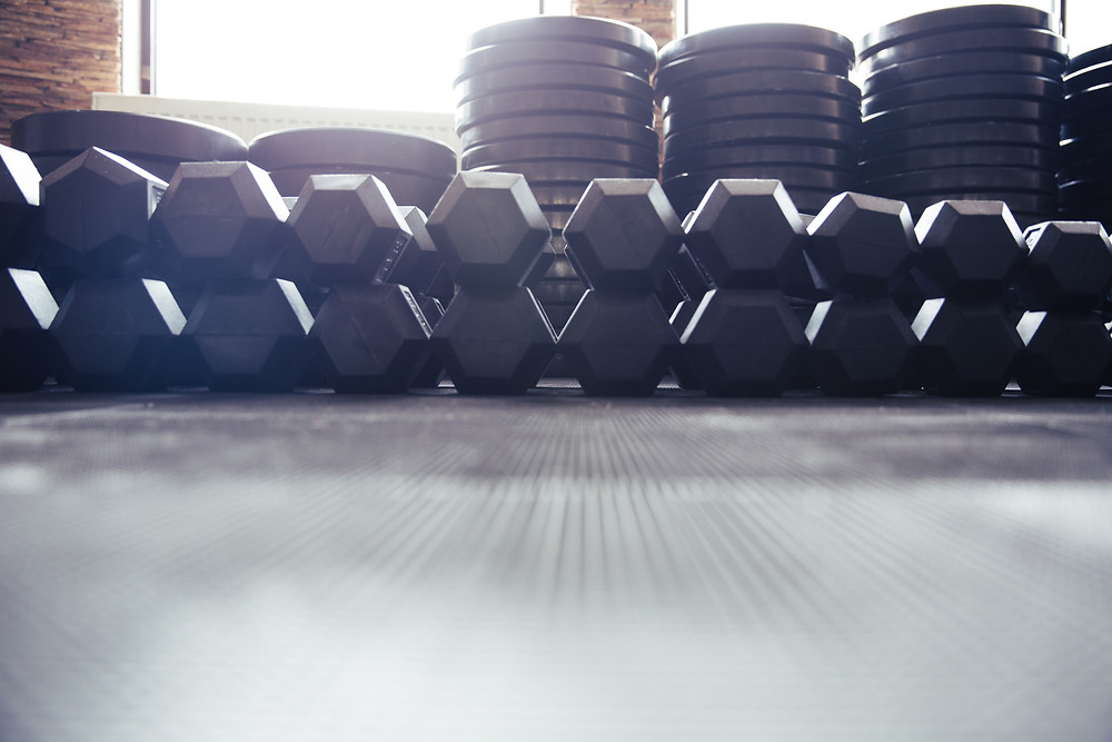Large set of weights on the floor
