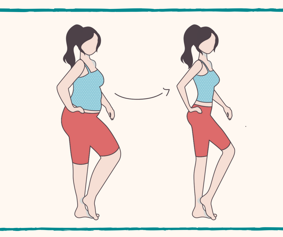 Drawing of woman before and after weight loss