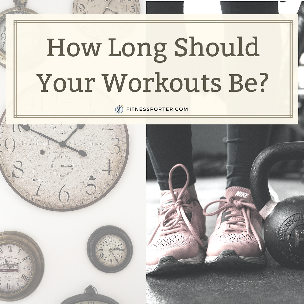 How Long Should Your Workouts Be? with clocks and workout clothes