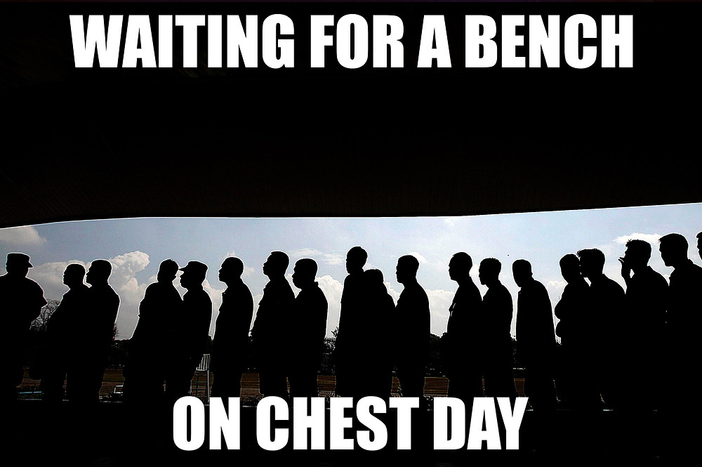 Waiting for a bench on chest day