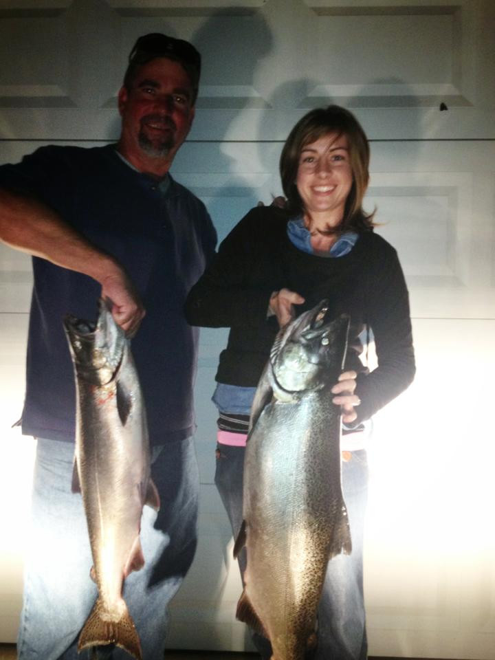 Megan and Jim with a day's catch of fresh fish
