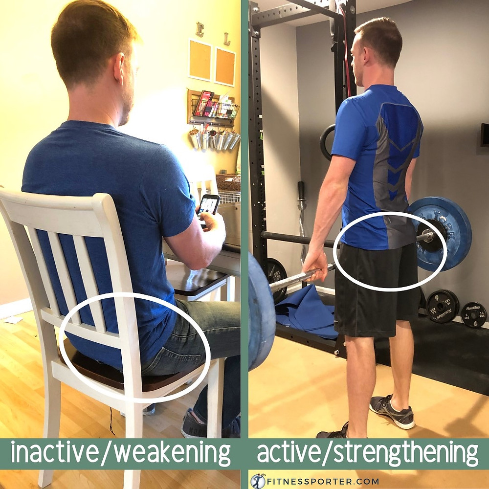 Strengthen inactive muscles; sitting too much