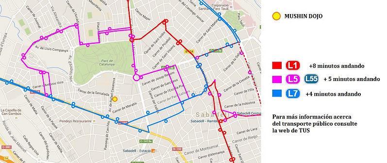 Mapa de buses para llegar al Dojo