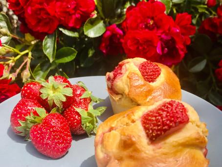 Muffins aux fraises et noisettes