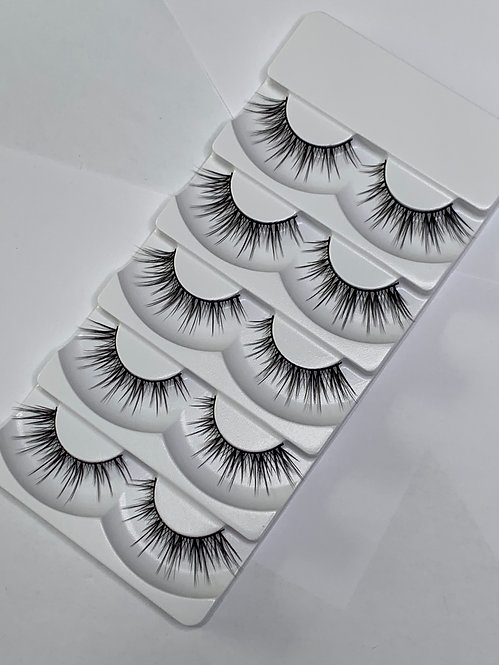 Luxury 6D Mink STRIP LASHES ( 5 pairs per box ) -6D06