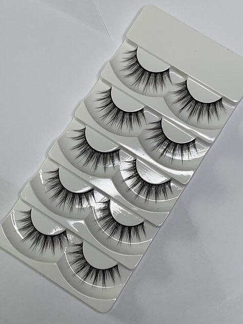Luxury 6D Mink STRIP LASHES ( 5 pairs per box ) -6D11