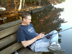 Richard fishing at retreat