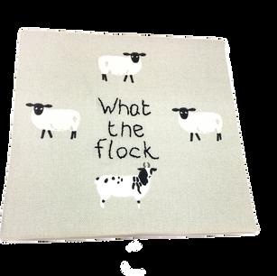 subversive stitching on printed fabric.