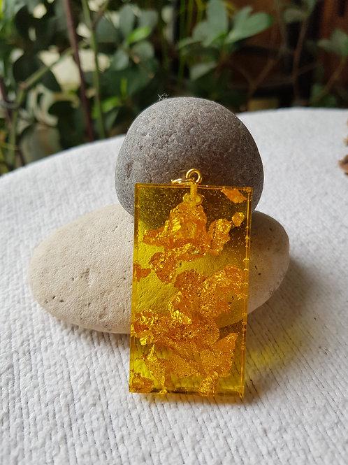 Pendentif plat feuilles d'or