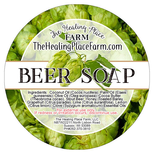 CITRUS STOUT BEER SOAP WITH HONEY, BARLEY and ESSENTIAL Oils