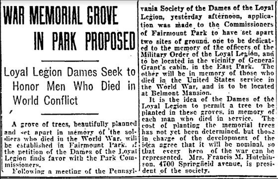 Fairmount Park's WWI Memorial Grove