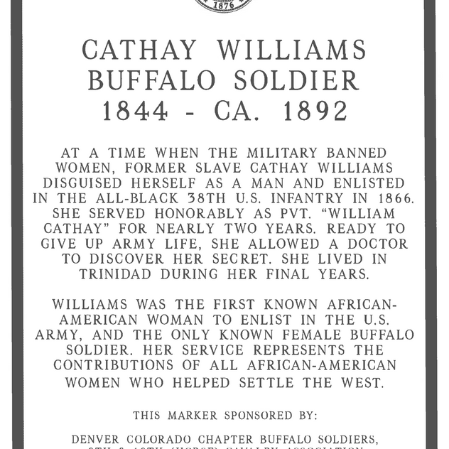 Cathay Williams State Marker