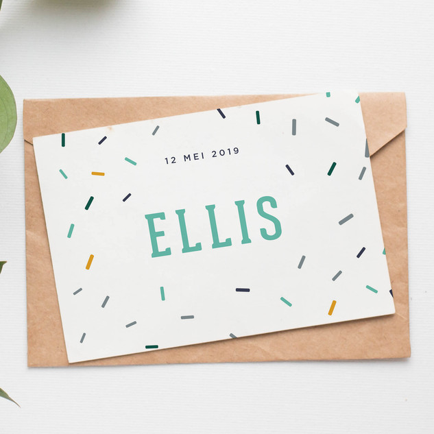 Speels geboortekaartje voor Ellis