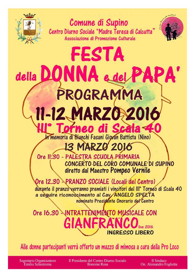 FESTA della DONNA e del PAPA' 2016