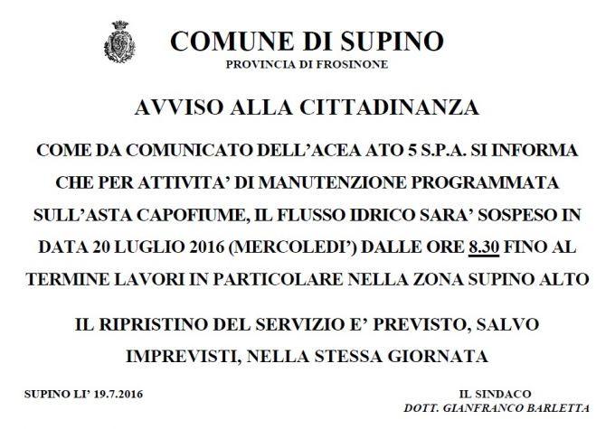AVVISO ALLA CITTADINANZA COMUNICATO DELL'ACEA ATO 5
