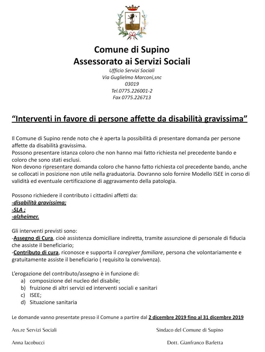 INTERVENTI A FAVORE DI PERSONE AFFETTE DA DISABILITA' GRAVISSIMA.