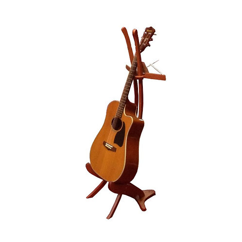 Guitar music stand _ red leather